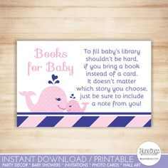 Printable Pink and Navy Whale Baby Shower Book Request Cards from DoodleLulu by 2 june bugs