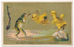 Very  Rare victorian trade card 1890's Frogs frog and chicken