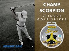 The new Champ Scorpion Stinger Golf Spikes from MonarkGolf, the world leader in sport cleat technology, is incredibly thin and light and is the most advanced fastening system in the industry.  Enjoy improved performance traction with the enhanced cleat technology!!  Shop now !  #MonarkGolf #Golf #GolfClubs #GolfProducts #GolfComponents #Golfing #Golfers #ShopNow #onlineShopping New Champ, Golf Spikes, Golf Club Grips, Golf Accessories, Golfers, World Leaders, Scorpion, Champs, Golf Clubs