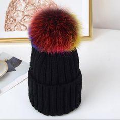 db53bb0aabc black raccoon fur pom pom hat Knitted Beanies