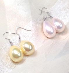 Large Shell Pearl Earrings, Yellow Or Pink, In Sterling Silver, Handmade Jewelry By NorthCoastCottage Jewelry Design & Vintage Treasures. Beautiful, soft shimmer will make these lovely earrings a favorite go-to pair year-round, especially in spring and summer. A treasured gift