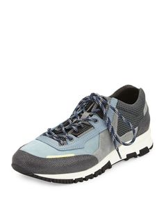 LANVIN Colorblock Mesh Trainer Sneaker, Blue/Gray. #lanvin #shoes #sneakers