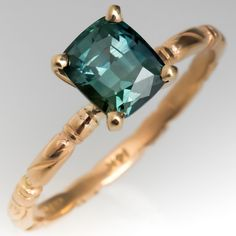 47c2ec7e35 Cushion Cut Teal Sapphire Solitaire Ring 14K Gold Jabel Band