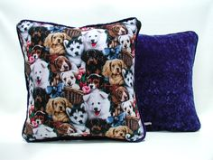 Pillows that Stand Out #etsy shop: Puppy Love Pillow, Blue Velvet Pillow, Dog Lovers Pillow, Doggie Accent Pillow, Pillows with Trim, Puppy Lovers Pillow, Gift For Her or Him http://etsy.me/2CtY3rV #housewares #pillow #blue #cotton #pillowcover #vel