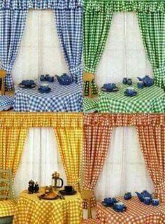 Kitchen Curtains in Gingham Gingham Curtains, Bed Curtains, Country Curtains, Curtain Styles, Curtain Designs, Shabby Chic Kitchen, Country Kitchen, Cortinas Country, Rideaux Design