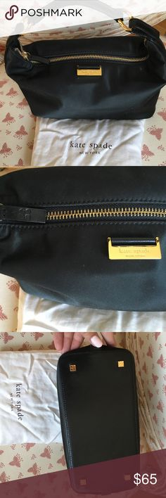"""Kate Spade evening bag Black Kate Spade evening bag with gold hardware. Dust bag included. Good condition! Measures 11"""" across and 5.5"""" top to bottom, with a 4"""" drop from the handle. kate spade Bags"""