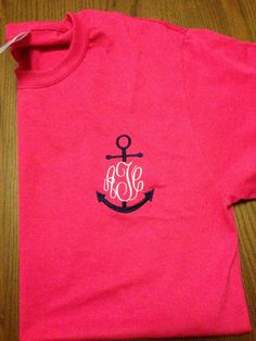 Anchor Monogrammed TShirt  Short Sleeves by SouthernCharmsGifts, $25.00