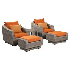 Enjoy cocktails on your patio or an afternoon around the pool with this classic outdoor seating set. This stylish collection features 2 chairs and 2 ottomans...