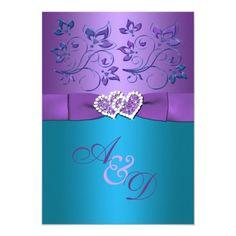 Purple, Teal Floral Hearts Monogram Wedding Invite Monogram Wedding Invitations, Summer Wedding Invitations, Floral Wedding Invitations, Wedding Stationery, Custom Invitations, Invitation Cards, Invitation Templates, Invites, Purple Invitations