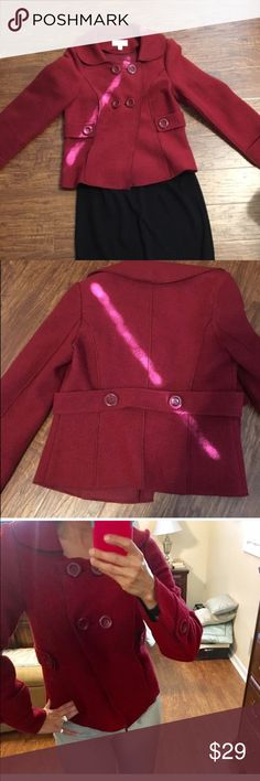Merona red peacoat jacket Elegant wool blazer with pretty details. Great for the office or over a dress for a chill evening. Merona brand. Size small. Tailored fit And flattering. 🚫MEASUREMENTS laying flat:: Merona Jackets & Coats Pea Coats