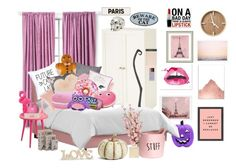 """pink, pink, to make the boys wink 😉"" by mugglebornprincess ❤ liked on Polyvore featuring interior, interiors, interior design, home, home decor, interior decorating, WALL, Pier 1 Imports, Linen House and Pottery Barn"
