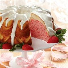Strawberry Cream Cheese Ribbon Cake from Pillsbury® Baking