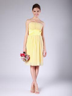 Strapless Chiffon Bridesmaid Dress with Satin Banding