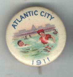 1911 pin ATLANTIC CITY pinback SWIMMING Swimmers Bathing BEACH Jersey Shore | eBay, $93,00