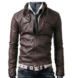 Buttoned Pocket brown Slim-fit and rider Leather Jacket . The classic jacket will provide the feel of warmth and comfort in chilled and cold weather.