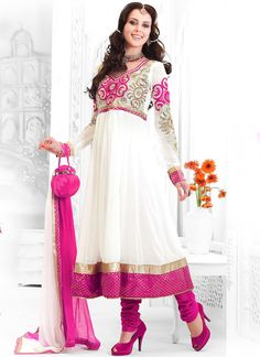 Cbazaar Gorgeous White Embroidered Churidar Suit
