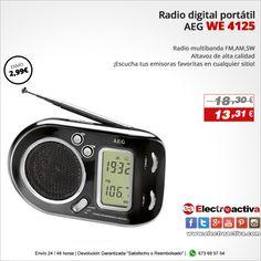 ¡Compacta con bonito diseño! Radio Portátil AEG WE 4125 http://www.electroactiva.com/aeg-we-4125-radio-digital-portatil-color-negro.html #Elmejorprecio #Chollo #Radio #Electronica #PymesUnidas