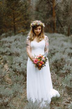 Bohemian Bride at her wedding in the Colorado Rockies