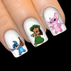 What Christmas manicure to choose for a festive mood - My Nails Disney Acrylic Nails, Summer Acrylic Nails, Best Acrylic Nails, Disney Nail Designs, Cute Nail Art Designs, Cute Nails, Pretty Nails, Lilo Und Stitch, Manicure