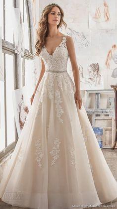 morilee spring 2017 bridal sleeveless embroidered strap v neck heavily embellished bodice romantic blush color a line wedding dress keyhole back chapel train (5510) mv