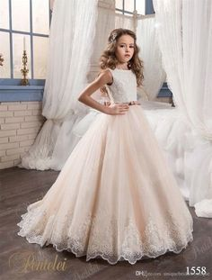 2017 Beautiful Flower Girls Dresses Pentelei With Bling Bling Hem And Bow Sash Appliques Tulle Ball Gown Girls Prom Gowns,08