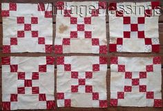"""c1860-1870   Perfect for making a doll or table quilt!   There is one treadle pieced block and the rest are hand pieced.   They range from 9 3/4"""" x 9 3/4"""" to 10.5 x 10.5""""   Never used or laundered.   These blocks have heavy spotting and tanning as shown in the photos. Just need a soak.   A12017-8. 