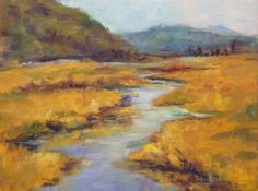 Lazy Stream Oil Painting Landscape River Water Fields, painting by artist Debra Sisson