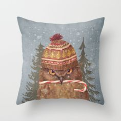 Christmas Owl by Terry Fan #animalart #christmas #throwpillows