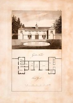 1823 Aquatint Engraving John Plaw Farm House Offices Ferme Ornee Pastoral JPA1 - Period Paper