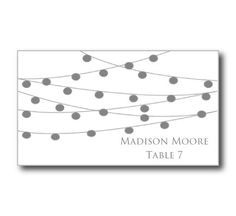 Printable Wedding Place Card TemplateString Lights Diy Wedding