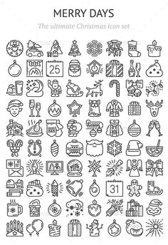 Merry Days – 80 icons by Shumaylov | GraphicRiver Christmas Doodles, Christmas Icons, Christmas Design, Christmas Art, Easy Christmas Drawings, Bullet Journal Writing, Bullet Journal Ideas Pages, Bullet Journal Inspiration, Daily Journal