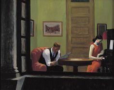 """""""Room in New York,"""" 1932.  Oil on canvas, 29 x 36 inches.  Sheldon Memorial Art Gallery and Sculpture Garden,  University of Nebraska-Lincoln.  UNL–F. M. Hall Collection."""