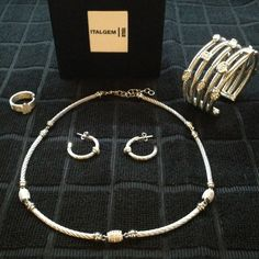 ITALGEM, made in Italy Stunning 4p Sterling & Dia ITALGEM- Steel and Sterling Silver with Diamonds. Stunning! 4pc Set includes Necklace earring ring and cuff! Pictures do no justice. Reduced drastically! Price firm. Italia Gem Jewelry