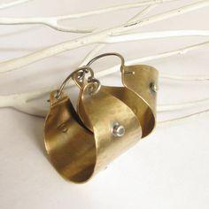 Rugged Mixed Metal Hoop Earrings  Rustic Jewelry by Mocahete, $54.00