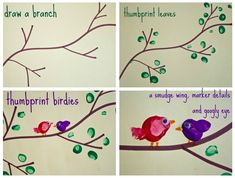 finger print art animals | Fingerprint Birds Crafts http://rubsomedirtblog.com/2012/07/favorite ...
