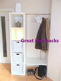Bedroom Storage Ideas For Clothes, Bedroom Storage For Small Rooms, Tiny House Storage, Coat Storage Small Space, Ikea Storage, Storage Hacks, Closet Storage, Corner Storage, Extra Storage