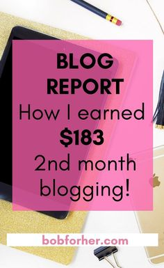 Blog report: How I earned $183 2nd month blogging bobforher.com  When I launched this site two months ago, my goal was to help moms earn extra money and maybe start their online business. That's also the biggest reason why I show you my Income Report – I want you to know that you can make an online job and that you can do it with very little investment, even if you have never had a blog before.