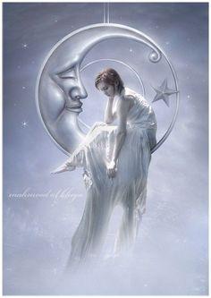 photo - Art by Mahmood-al-khaja Fairy Pictures, Moon Pictures, Dream Pictures, Sun Moon Stars, Sun And Stars, Beautiful Fairies, Beautiful Moon, Illustration Art Dessin, Illustrations