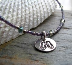 Purple Beaded Ankle Bracelet With Flip Flop Charm by staciejewelry, $40.00