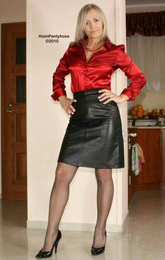 Résultat d'images pour Old Lady in Satin Blouses White Satin Blouse, Satin Blouses, Sexy Older Women, Old Women, Sexy Women, Belle Silhouette, Black Leather Skirts, Sexy Skirt, Skirt Suit