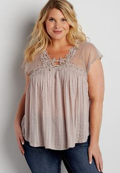 plus size lightweight top with mesh and crochet (original price, $34.00) available at #Maurices