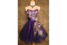 2014 Free Shipping purple peacock short cocktail dresses evening dress US 12 #Handmade #Cocktail