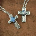 Rare and treasured ancient Roman Glass glimmers with hope across the middle of this sterling silver cross necklace...find more at www.fashionjewelry.com