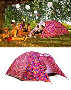 Im kind of obsessed with the print on this tent! This tent is lightweight, colorful and even has a solar panel on top that keeps small electronic devices charged.
