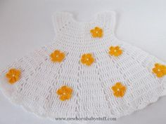 Crochet Baby Dress White Crochet Baby Dress Newborn dresses White by ROSSIBOUTI...