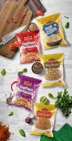 Anand Namkeen on Packaging of the World - Creative Package Design Gallery Popcorn Packaging, Chip Packaging, Spices Packaging, Beer Packaging, Food Packaging Design, Packaging Design Inspiration, Brand Packaging, Product Packaging, Product Ads