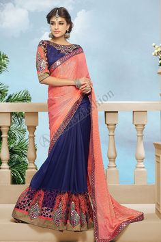 Blue Orange Georgette Jacquard Saree Design No. DMV7600 Price:- £69.00 Dress Type:	Saree Fabric:	Georgette with Jacquard Colour:    ​         	Blue with Orange Embellishments: 	Embroidered, Mirror For More Details:- http://www.andaazfashion.co.uk/blue-orange-georgette-jacquard-saree-with-dupion-silk-blouse-dmv7600.html