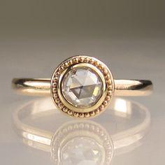 Granulated Rose Cut Moissanite Engagement Ring - 14k Gold. $598.00, via Etsy.