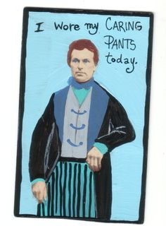 Wore my Caring Pants small original US outsider artist brut painting mixed media #Outsider