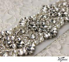 Wedding sash, Rhinestone Bridal belt , Crystal Bridal sash - satin ribbon with crystal, pearl and rhinestone beaded applique. $169.99, via Etsy.